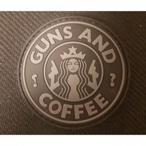 Guns & Coffee Black / Grey Rubber Morale Patch